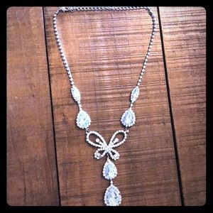 Jewelry - Sparkling white butterfly, teardrop necklace.